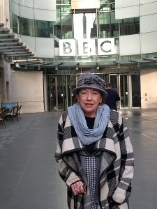 Meg outside Broadcasting House
